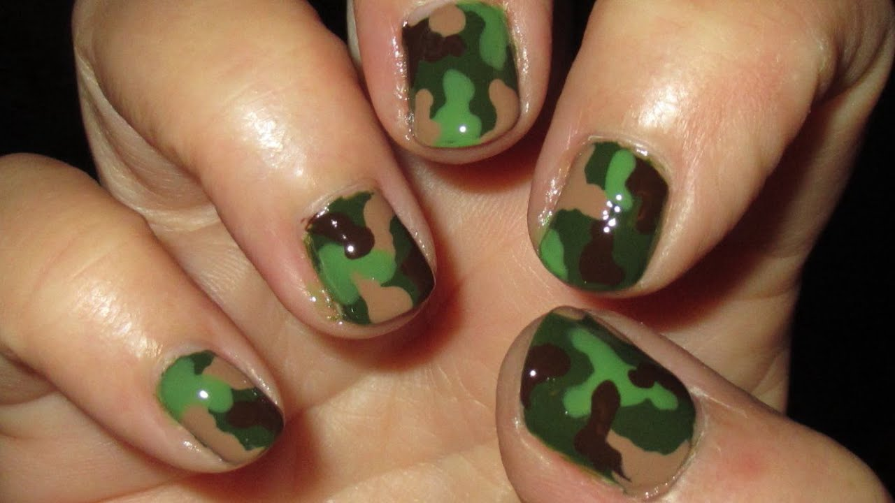 Camouflage nail art tutoral on short nails youtube prinsesfo Choice Image