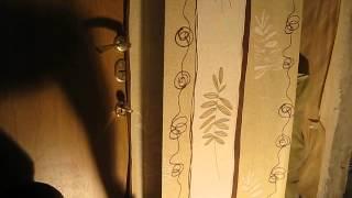 Поклейка обоев с подбором рисунка(стена-откос)