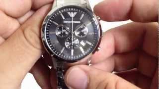 emporio armani stainless steel chronograph watch ar2434