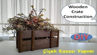 Wooden crate construction / Wooden flower box construction from palette,
