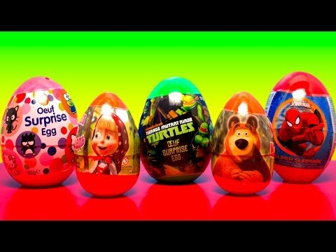 5 SUPER Surprise Eggs! SPIDER-MAN Nickelodeon TURTLES HELLO KITTY Masha i Medved/Маша Человек-Паук