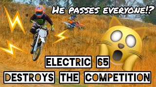 Electric 65 Destroys The Competition on Full Size Motocross Track!