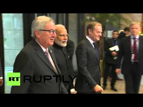 Belgium: Tusk and Juncker greet India's Modi as EU-India Summit starts