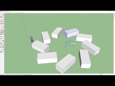 SketchUp - 1.9 - Xoay đối tượng và sao chép theo dãy (Rotate)