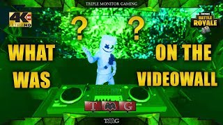 FORTNITE [4K@60fps] MARSHMELLO EVENT WHAT WAS ON THE VIDEOWALL (full video)   Triple monitor gaming
