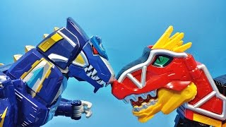 공룡 로봇 대격돌 파워레인저 다이노포스 dx 티라노킹 가브티라 스테고치 드릴케라 대 dx 수호킹 수호드릴 수호렉스 power ranger dino charge toys