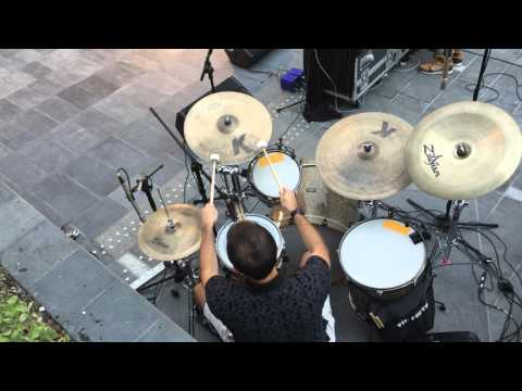 Leo Ehrlich playing drums with Muhaisnah 4 - Dubai Design District - Set 1