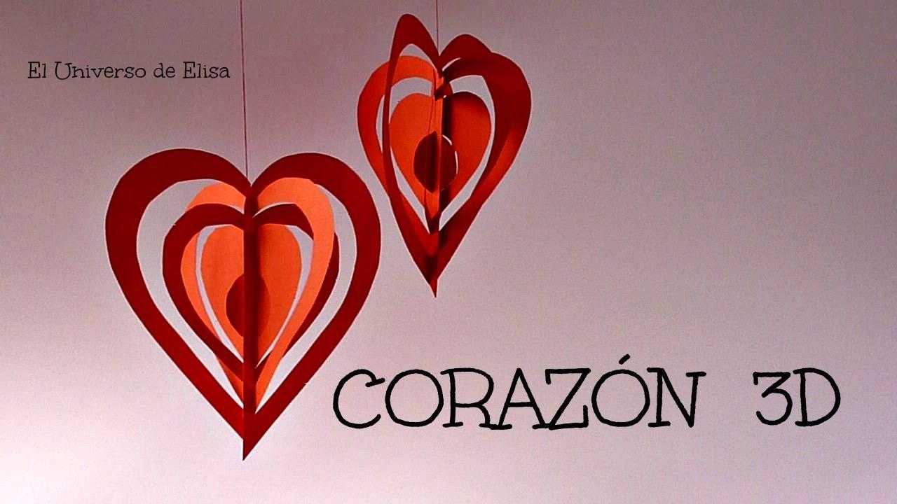 Manualidades para San Valentín, Corazón 3D Kirigami, Día del amor y ...