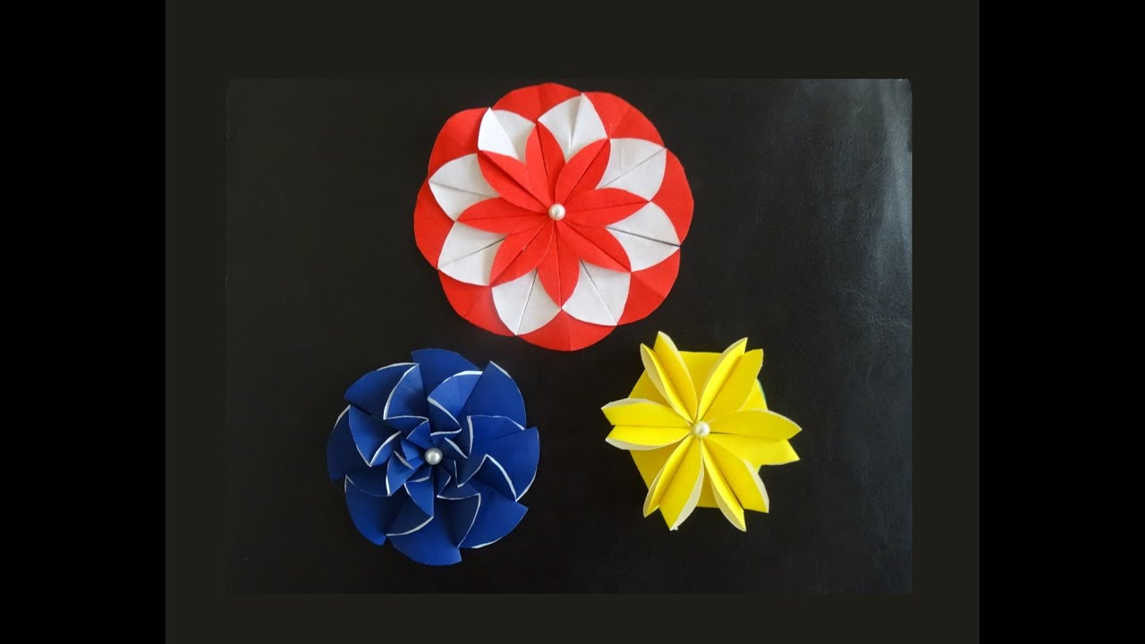3 Paper Flower Designs You Can Make With Paper Circles Youtube