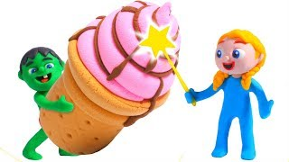 FUNNY KIDS & THE YUMMY ICE CREAMS ❤ Play Doh Cartoons For Kids