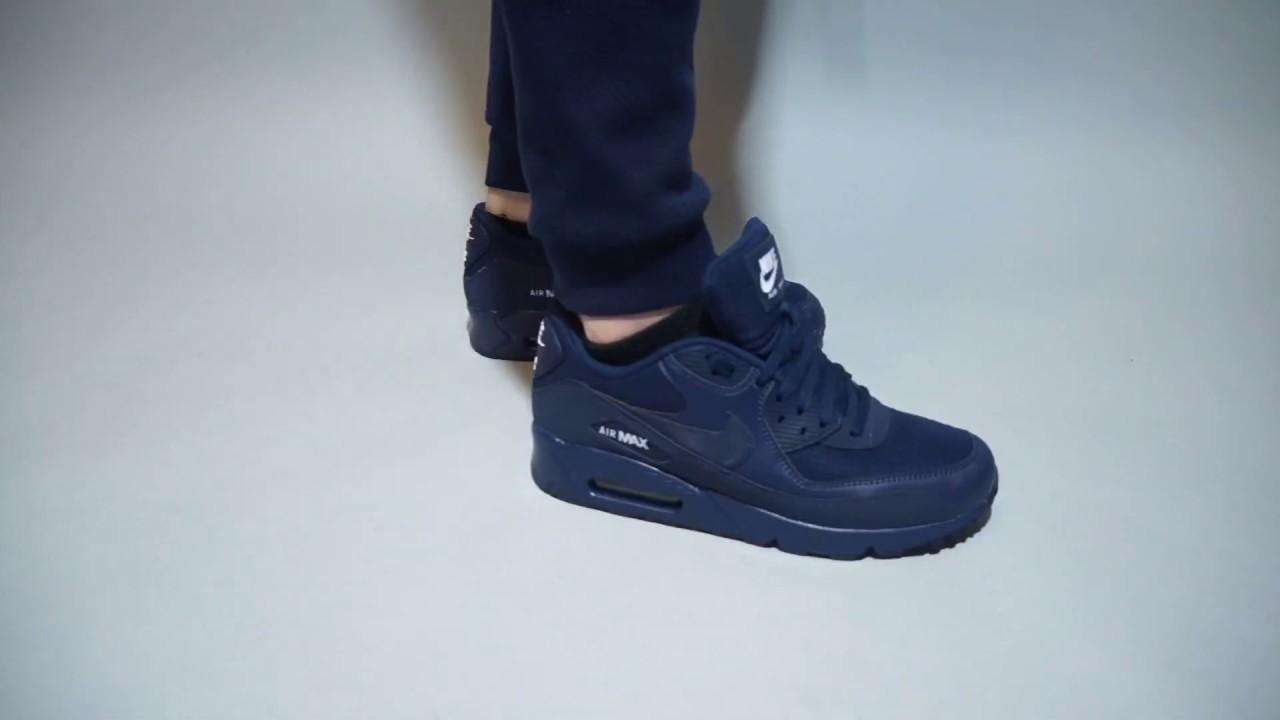 new products 18fa0 b9884 Nike Air Max 90 Essential Midnight Navy AJ1285-404 on feet