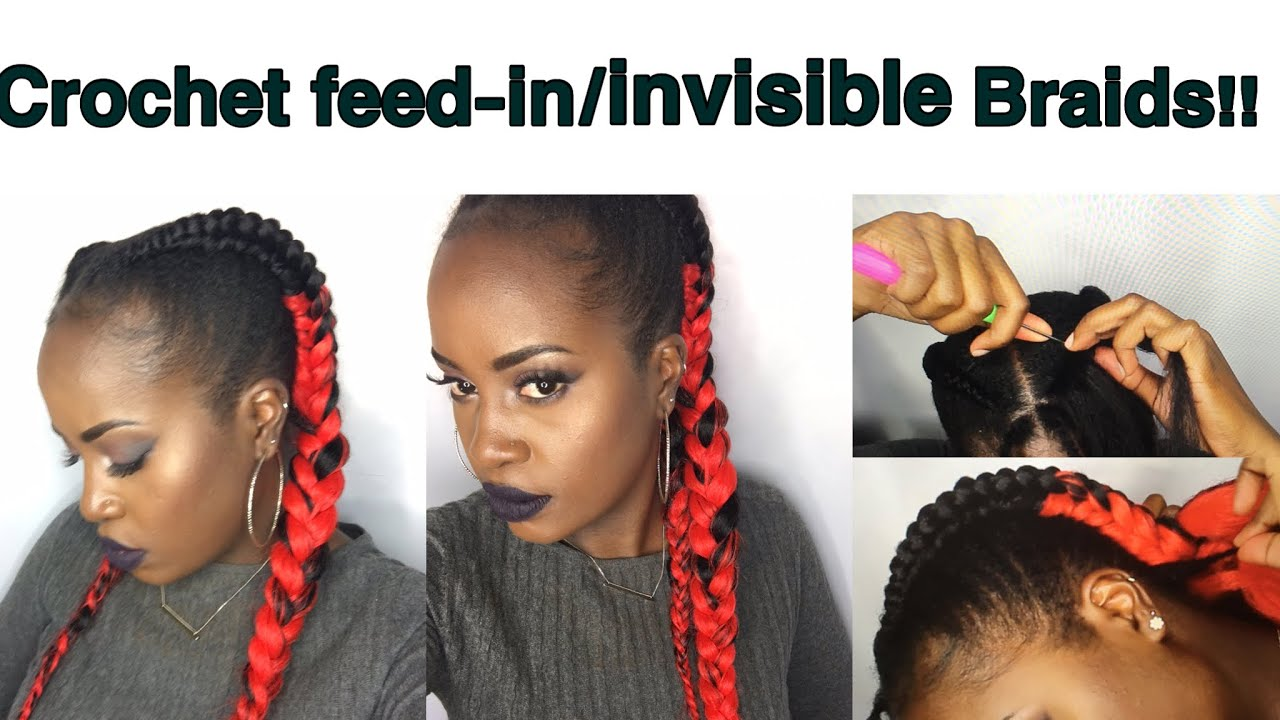 Hair Styles Feed In Braids: How To CROCHET Feed-in/invisible 3D Straight Back
