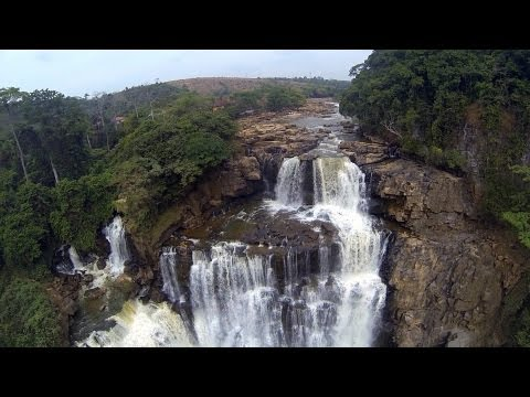 DJI Phantom flying over Zongo falls near Congo River in DRC