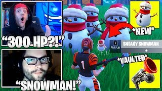 STREAMERS *FIRST TIME* Using 'Sneaky Snowman' & Reacts TO Grappler VAULTED! (Fortnite Moments)