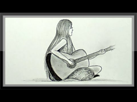 Cool Pencil Drawing A Girl With Guitar In Hand Easy Youtube