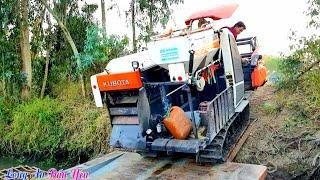 Cận cảnh 2 máy cắt lúa Dc70 tuột bờ kênh cao xuống phà tài xế quá kinh nghiệm, Kubota Rice Harvester