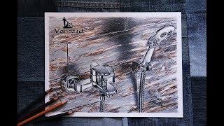Bathroom Faucet and Showerhead Drawing | Ünverdi Metal