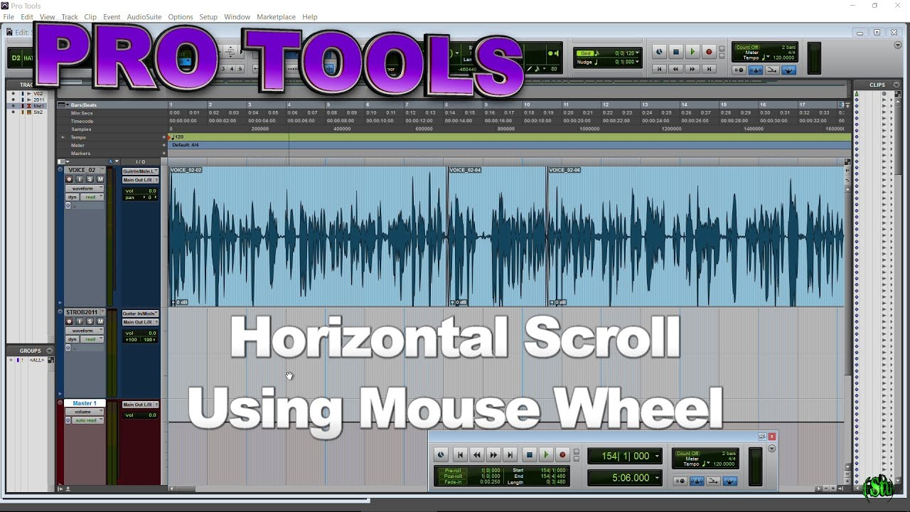 Pro Tools - Horizontal Scroll With The Mouse Wheel (Side to Side Scroll)