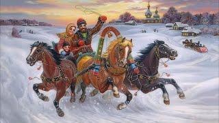 С Рождеством! На лошадках в санках едем мы зимой