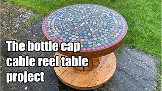 Building a beer bottle cap cable reel table using bottle tops and epoxy resin
