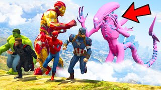 SCARY ALIEN ARMY FIGHT WITH AVENGERS ARMY IN GTA 5