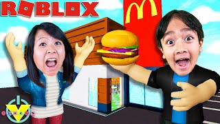 Ryan OWNS McDonalds in Roblox Food Tycoon Let's Play with Ryan's Mommy!!