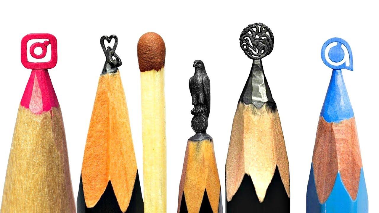 AMAZING Art - Carving Instagram Logo On a Pencil Tip! *CRAZY*  Pencil Carving - Mini Sculptures