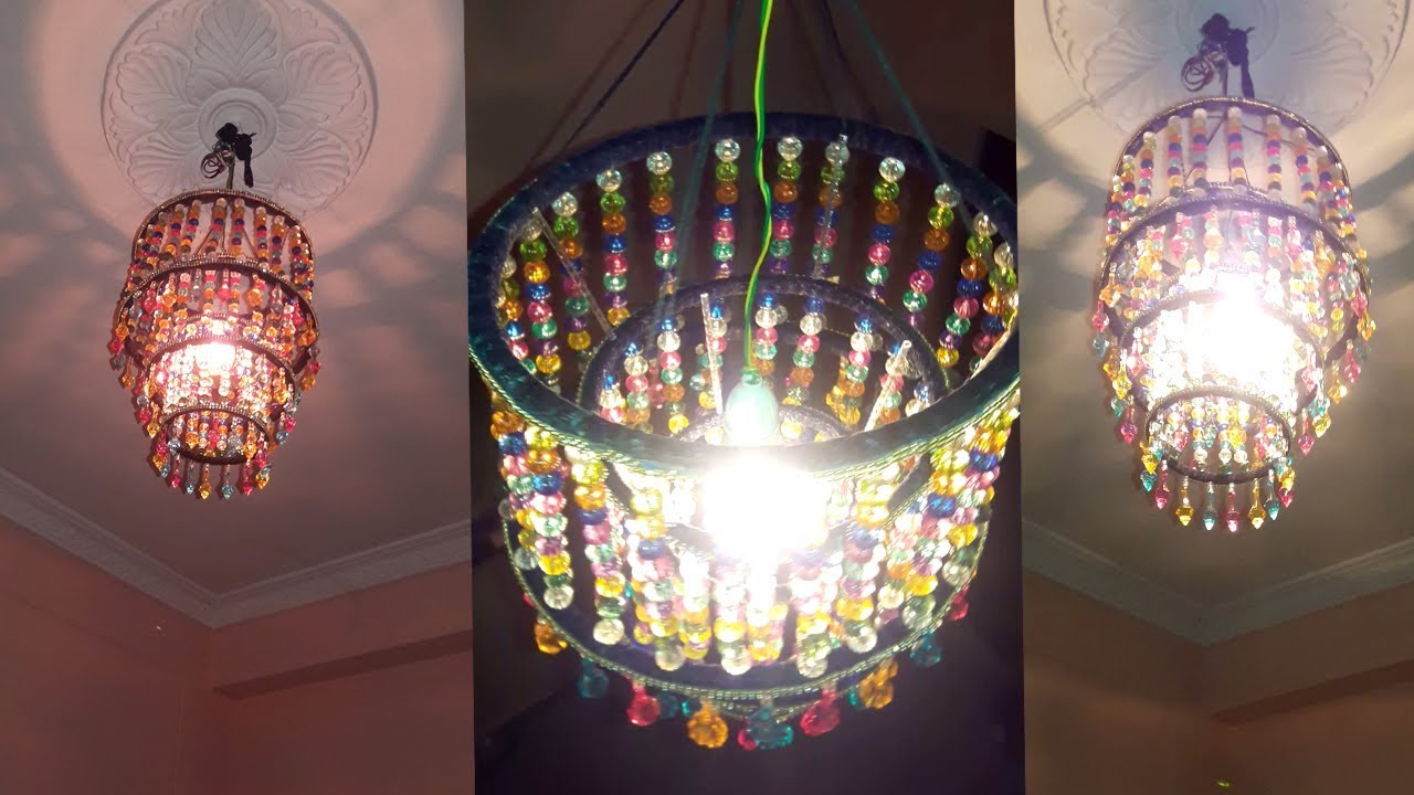 Wonderful How To Make Jhumar   Wall Hanging Decoration   DIY Crystal Chandelier   Home  Decorating Ideas