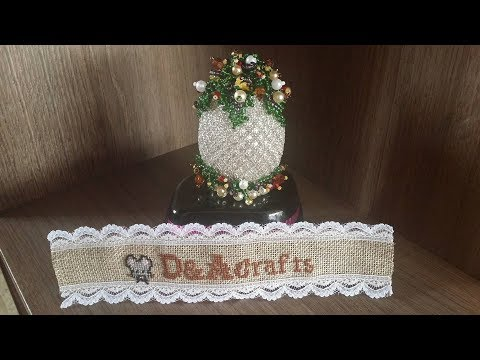 DIY: How to make beautiful wooden egg for Easter with leaves made of beads TUTORIAL