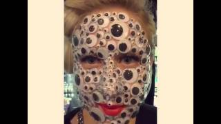 Slow motion googly eyes spider face. Best Halloween costume ever.