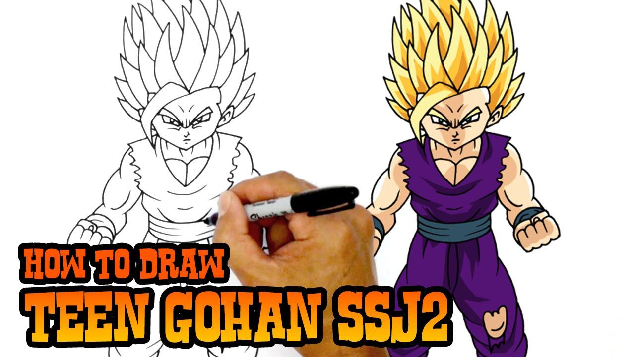 How To Draw Teen Gohan Ssj2 Dragon Ball Z Youtube