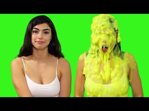 Beautiful Woman Gets Slimed Three Times!