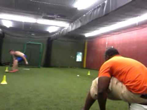 Training at Steve Hine Sports Academy , foot work