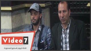 أول ظهور للفنان ماهر عصام بعد علاجه فى عزاء شقيق سامح الصريطى