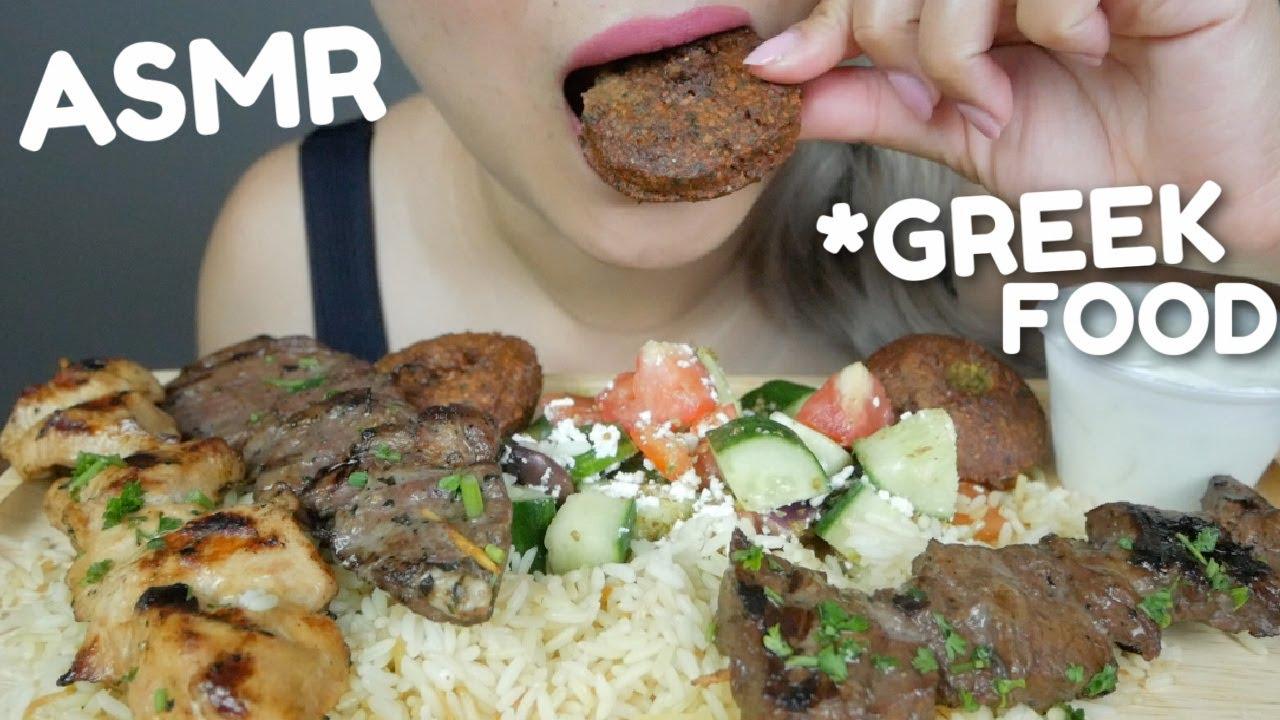 ASMR Greek & Mediterranean Food *No Talking Relaxing Eating Sounds   N.E ASMR