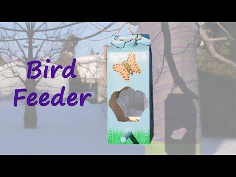 Make the prettiest milk carton bird feeder