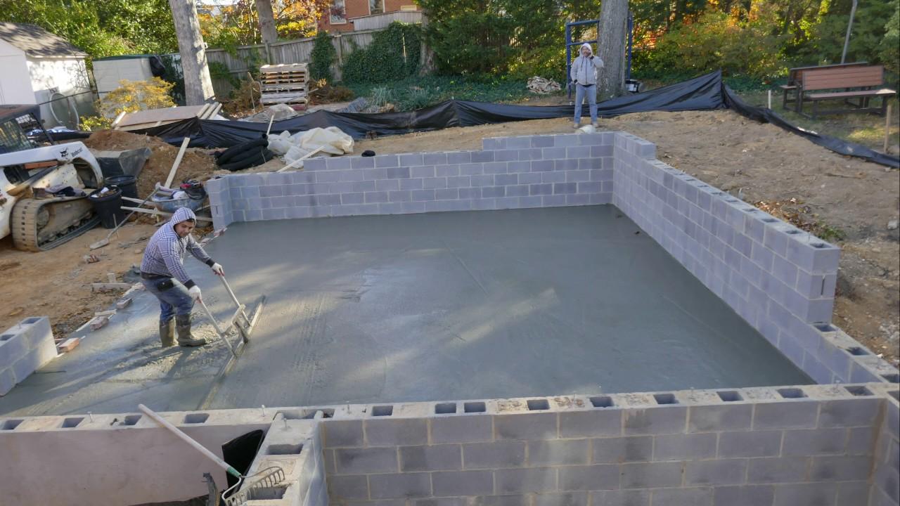 Timelapse of a concrete garage slab pour 4k video youtube for Concrete slab for garage