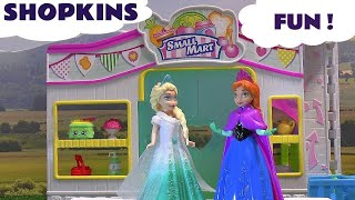 Shopkins Play Doh Surprises opened by Frozen Elsa and Anna
