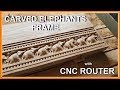 Carved elephants. Mirror frame with CNC