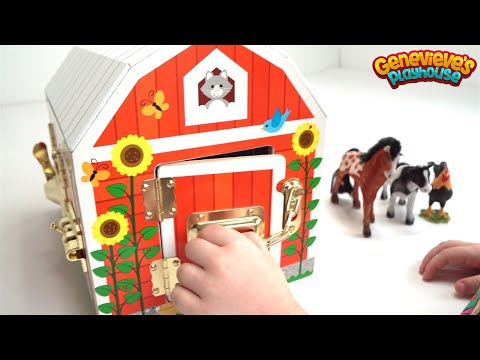 Genevieve Plays with Farm Animals and Wooden Marble Maze!