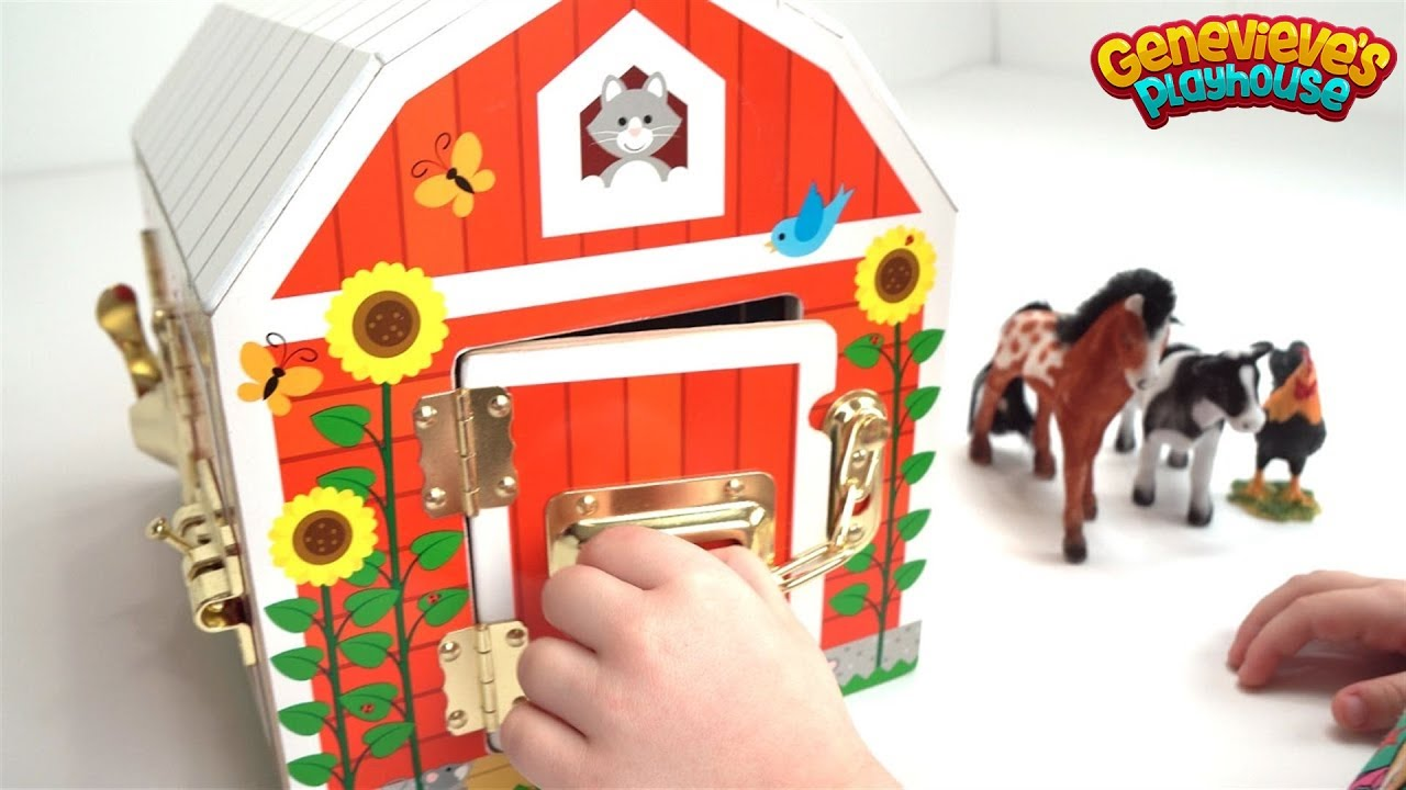Genevieve Plays With Farm Animals And Wooden Marble Maze