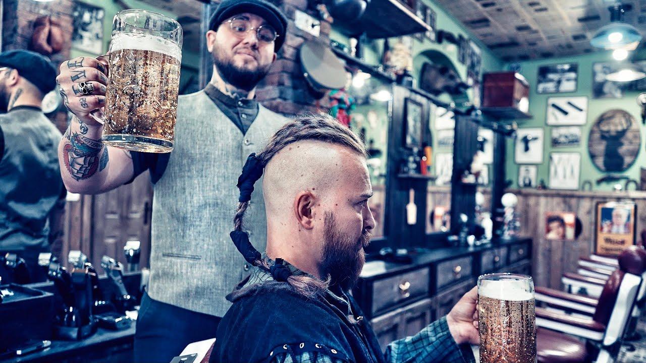 💈 ASMR BARBER - HOW TO GET Ragnar Lothbrok VIKING HAIRCUT & BEARD TRIM