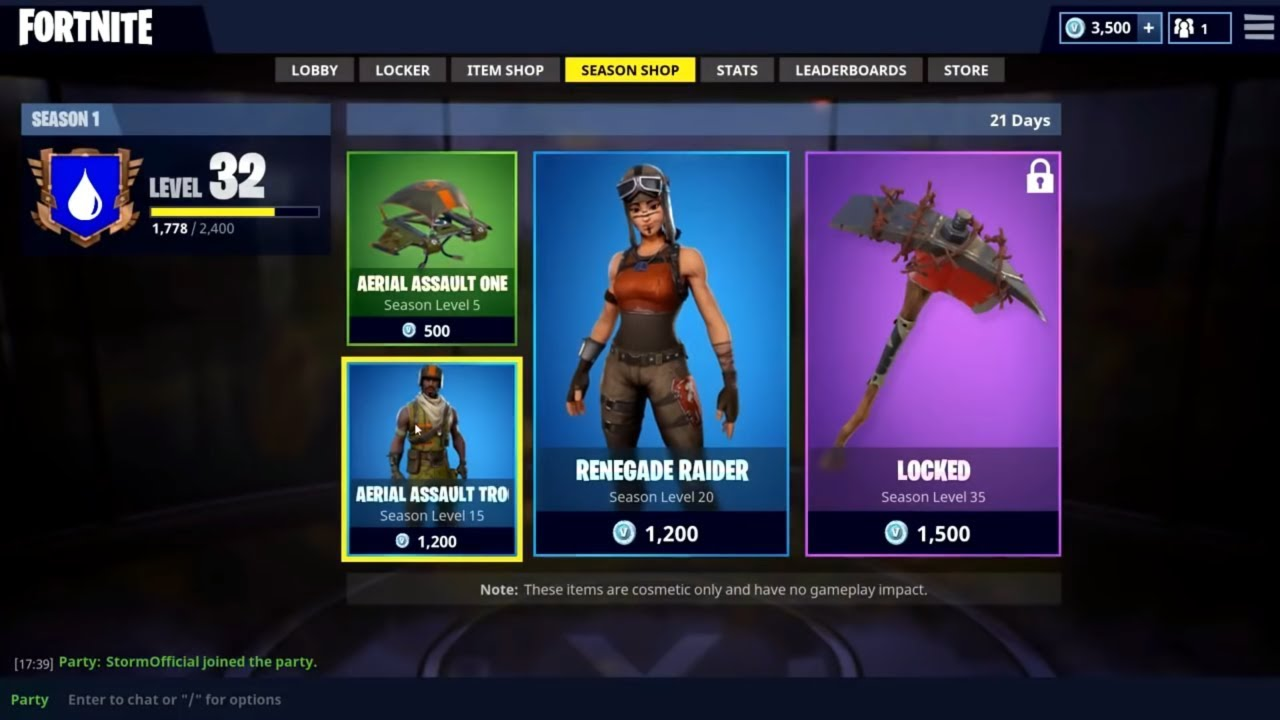 What was the first skin in fortnite shop