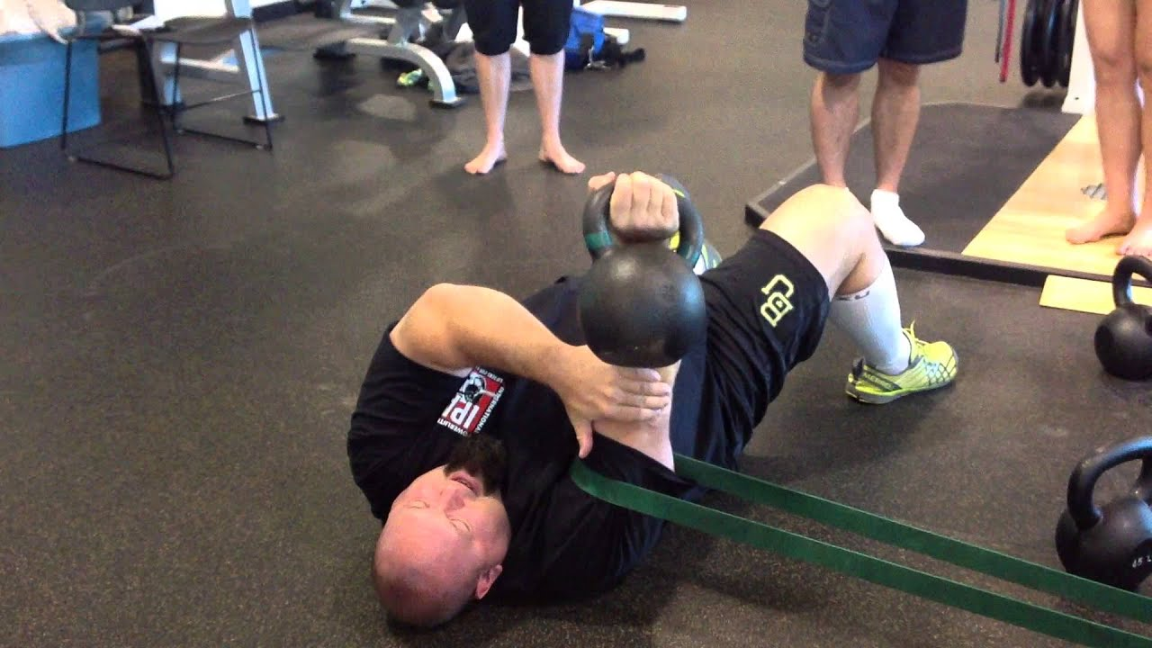 Donnie Thompson Demonstrating A Kettlebell Floor Press.