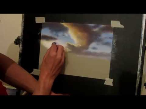 speed painting summer skies with Pastels