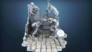 Full Avenger Scene  Marvel . Diorama for 3D printing.Five heroes !!!