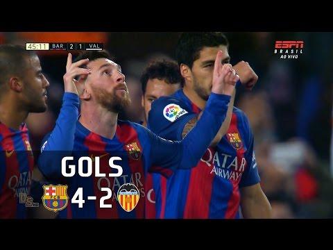 Gols - Barcelona 4 x 2 Valencia - Campeonato Espanhol 16-17