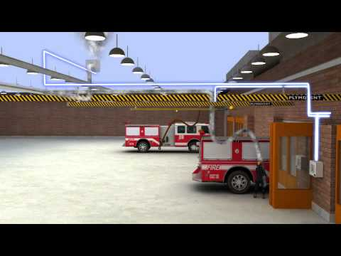 plymovent diesel exhaust extraction system in a fire station magnetic grabber