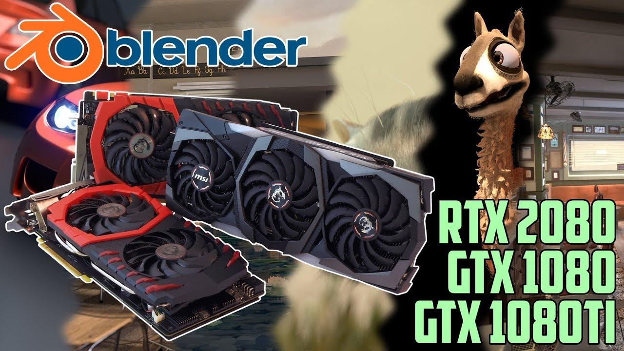 GPU rendering in Blender Cycles - RTX 2080   GTX 1080 Ti   GTX 1080