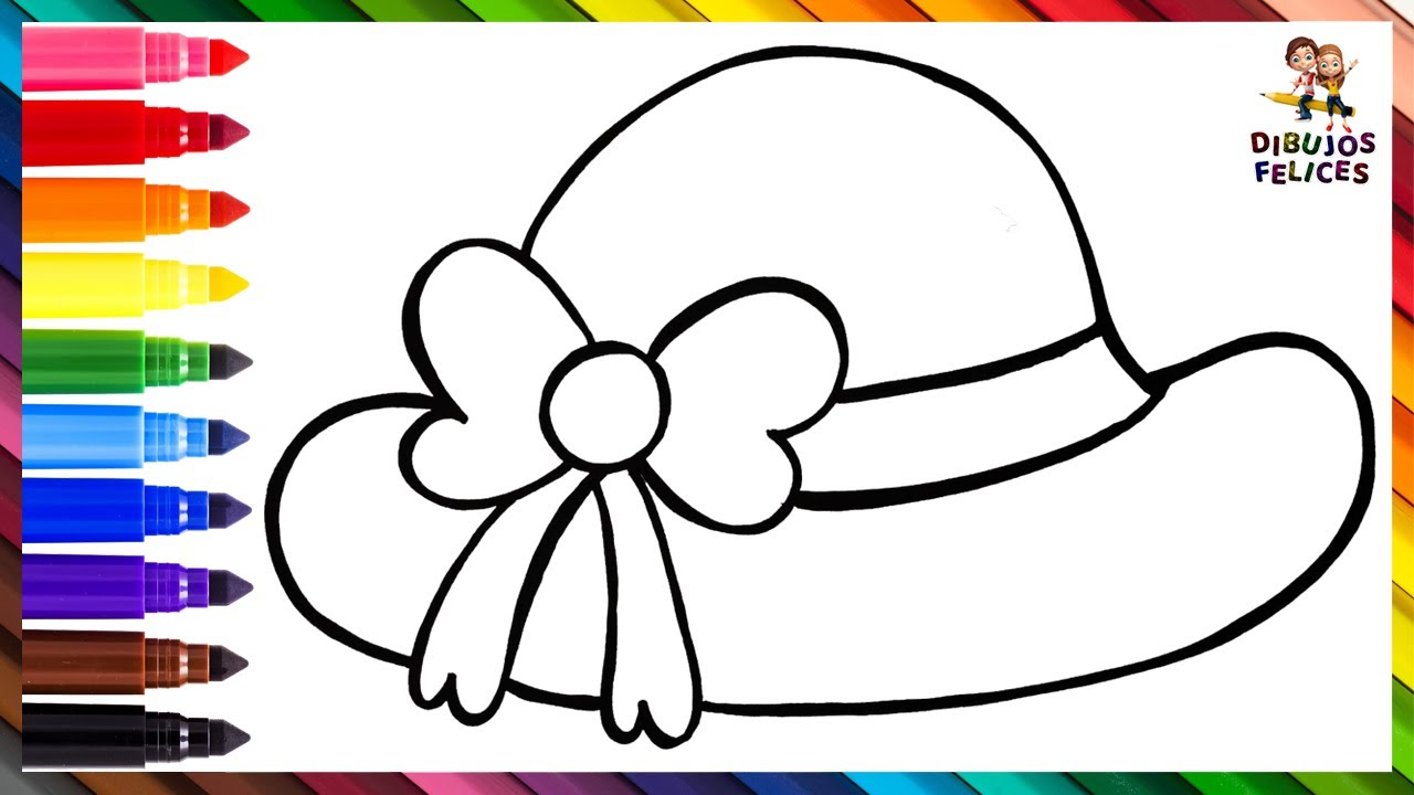 Cómo Dibujar Un Sombrero 👒 Dibuja y Colorea Un Sombrero De Mujer Arcoiris 🎀🌈 Dibujos Para Niños